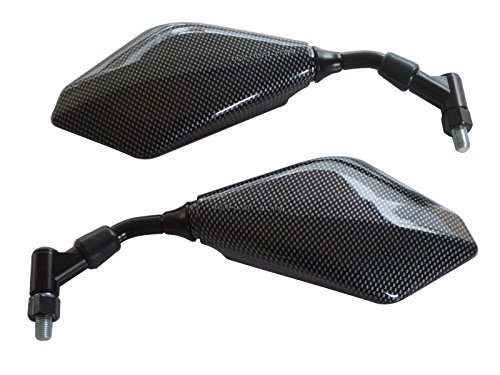 black Stems with Glossy Carbon finish Motorbike Mirrors Pair 10mm thread