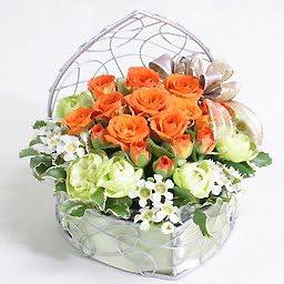 デザイナーズアレンジ オレンジ系スプレーバラの花 花 ギフト 翌日配送 時間指定不可 プレゼント 誕生日 宅配