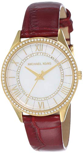 Michael Kors Women's Lauryn Stainless Steel Analog-Quartz Watch with Leather Strap, red, 16 (Model: MK2756) (Red Michael Kors Watch Men)