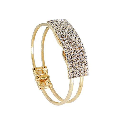 Lisingtool Lady Elegant Bangle Wristband Bracelet Crystal Cuff Bling Gift (Turquoise Stone Stretch Band Watch)