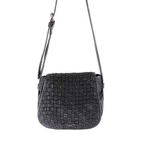 Adjustable Dudu Button Woman Flap Closure Black With Magnetic Shoulder Real Slate Leather Garment Braided Dyed Bag Strap ASqOA0