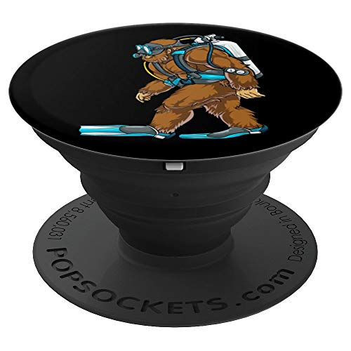 - Cool Bigfoot Sasquatch Scuba Diving Divers Funny Black Gifts - PopSockets Grip and Stand for Phones and Tablets