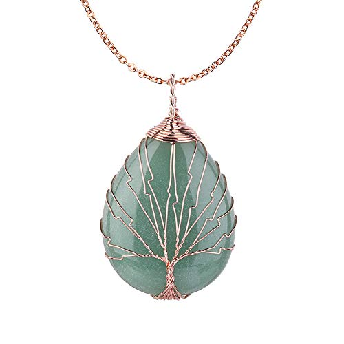 OCARLY Gemstone Drop Tree of Life Pendant Healing Crystal Chakra Necklace Copper Wire Wrapped Jewelry ()