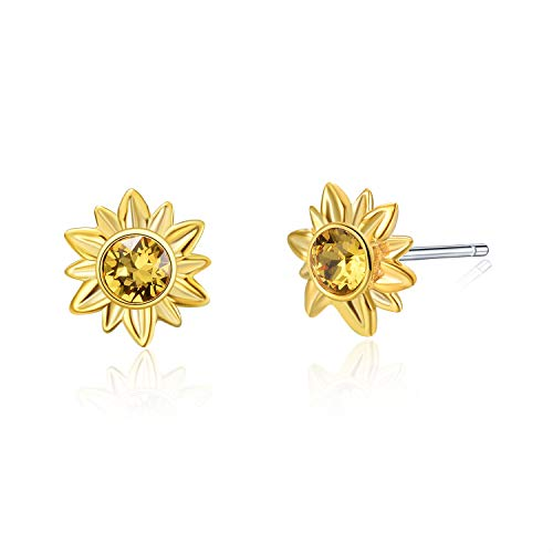 AOBOCO Sterling Silver Sunflower Earrings Studs Two Tone Flower Studs with Swarovski Crystal,Gold Plated Jewelry Gift for Women -