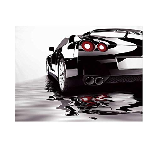 (Cars Photography Background,Modern Black Car with Water Reflection Prestige Fast Engine Performance Lifestyle Decorative Backdrop for Studio,10x6ft)