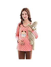 Nightgowns Maternity Pajamas Pregnancy Cotton Dot Nightwear Long-Sleeve Pregnancy Sleepwear Breastfeeding Clothes Wonderful Pregnant Women Gift Sleepshirts (Color : Multi-Colored, Size : L)