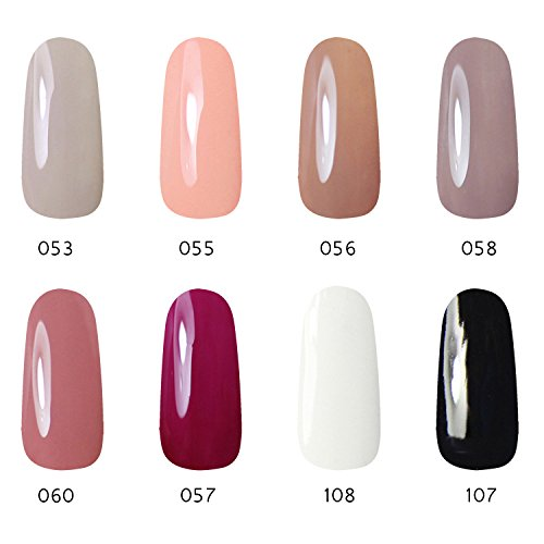 Gellen 8 Colors UV Gel Nail Polish - Classic Pastel Black Wh