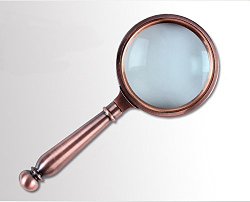 XDOBO European Classical Optical Glass the Bronze Handle Read 10 Times a Magnifying Glass with a Flannelette Bag, Lens Cleaning Cloth and a Delicate - Bronze Optical