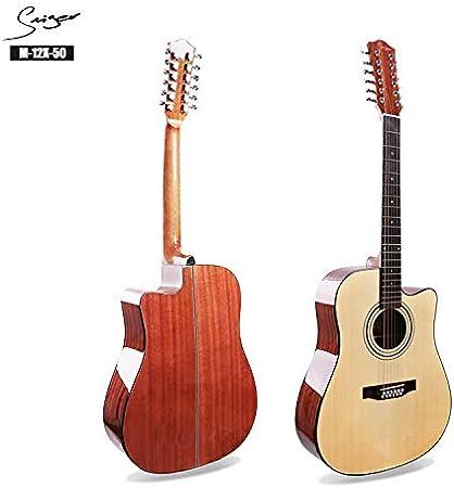 SUNXK Doce Guitarra de Cuerdas de la Guitarra de 12 Cuerdas balada Complejo acorde Complejo fingerpicking (Color : Wood Color, Size : 41 Inch): Amazon.es: Hogar