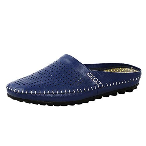 Respctful✿Men Mule Clog Slippers Breathable Leather Driving Shoes House Slip On Massage Sandals Open Back Slippers Blue
