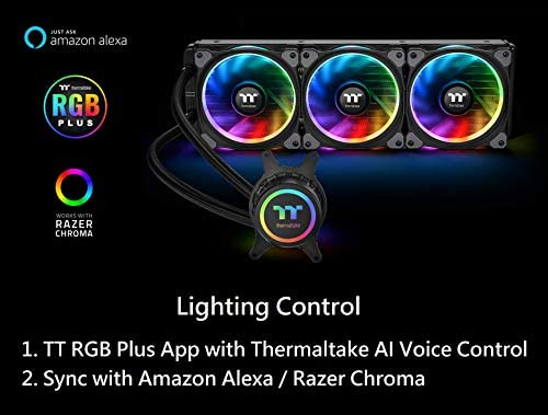 Thermaltake Floe Triple Riing 16 8 Million Color RGB TR4 Edition Alexa  Razer Chroma Syncable AIO Liquid Cooling CPU Cooler CL-W235-PL12SW-A