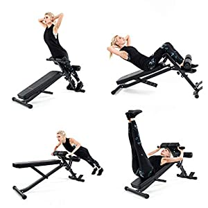 Adjustable Ab Bench Multi-Workout Hyper Back Extension Abdominal Sit Up Bench Weight Bench with Flat/Decline/Sit Up for Commercial and Home Use (Black/Red)