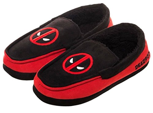 Deadpool Mask Logo Black and Red Adult Size Soft Moccasins Slippers Shoes (Large)