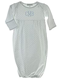 Magnolia Baby Personalized Baby Gown Boy White Blue Monogrammed