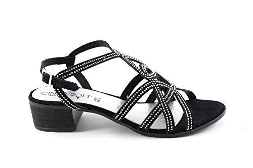 sandalias CINZIA SUAVE IZ77500 zapatos de cuero negro de la mujer pulsera del Rhinestone Nero
