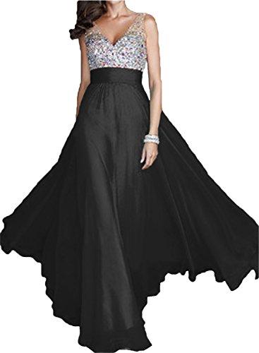 Festkleid Chiffon Ausschnitt V A Schwarz Promkleid Abendkleid Linie Lang Partykleid Damen Ivydressing Elegant wYgZxqHzz6
