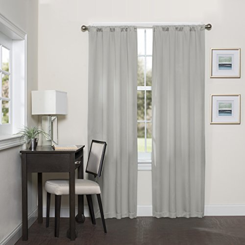 Eclipse 16205037095GRE Darrell 37-Inch by 95-Inch Thermaweave Room Darkening Single Window Curtain Panel, Grey
