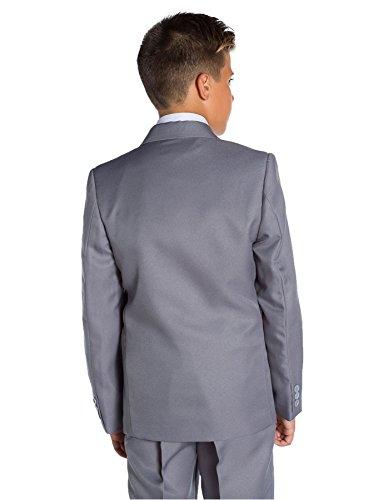 CellDeal-Satin Child Kids School Boy Wedding Elastic Neck Tie Dark Gray