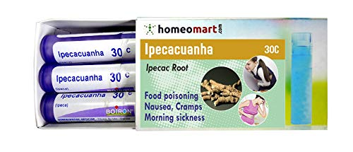 Homeopathy Ipecacuanha 30C Pills for Food Poisoning, Nausea, Cramps, Morning Sickness. Pack of 3, Sealed Boiron 4g Tubes