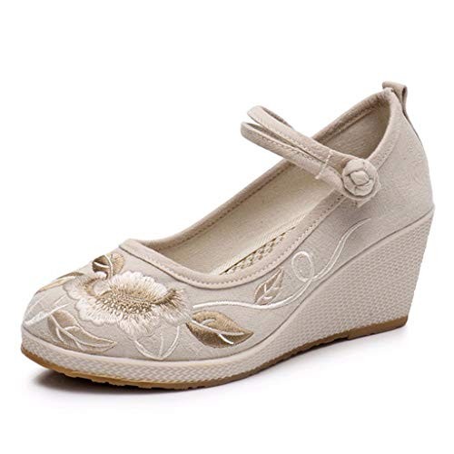 Scarpe casual Beige etnico Shoes 35 Wedge 7cm Ladies ricamo Scarpe XHX Elegante Beige dimensioni Fashion Colore 7q8xCUznp