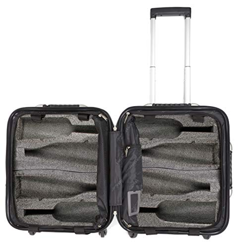 VinGardeValise Petite 03-8 Bottle Wine Travel Suitcase (Black) (Magnum Bottle Dimensions)