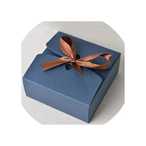 Boxes with Ribbon Wedding Favor Boxes Baby Shower Favor Boxes Party Gift Boxes 30Pcs/Lot,Deep Blue,20.8X14X5Cm