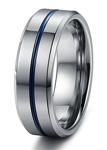 Tungary Jewelry 8mm Mens Tungsten Carbide Wedding Band Engagement Groove Blue Line High Polish Size 9.5 (Thin Mens Wedding Rings)