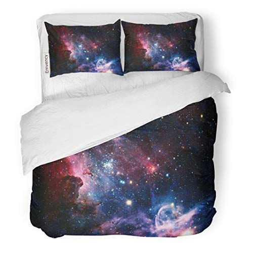 Semtomn Decor Duvet Cover Set Twin Size The Carina Nebula in Infrared Light This Furnished 3 Piece Brushed Microfiber Fabric Print Bedding Set Cover ()
