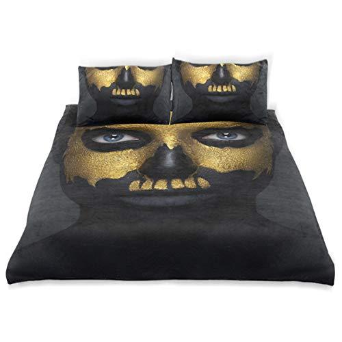 COVOSA Duvet Cover Set Halloween Creative Makeup Theme Beautiful Girl Decorative 3 Piece Bedding Set with 2 Pillow Shams Soft Bedding Set with Zipper -