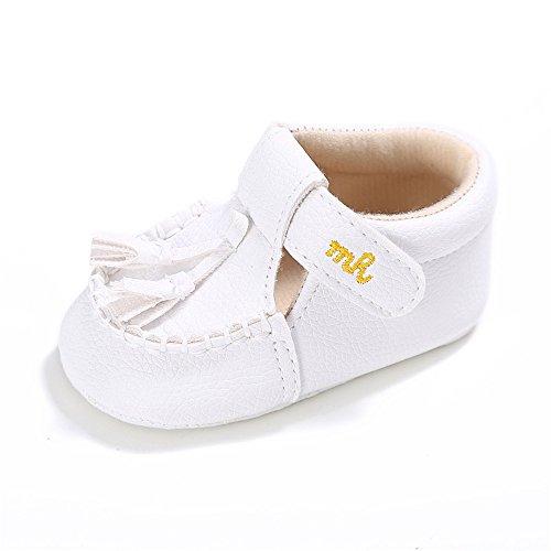 L'enfant Baby Unisex Suede Tassel Shoes Soft Sole Prewalker White