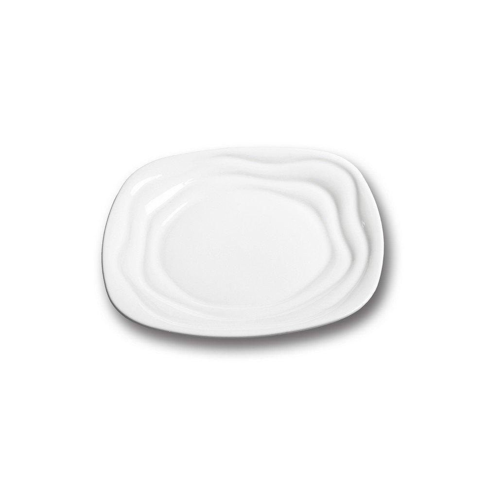 10 Strawberry Street IZABEL LAM Bone China - Ripples 9'' Square Side Plate, Set of 6, White