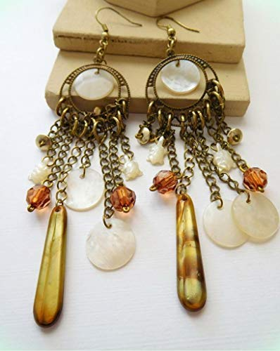 Long Antiqued Gold Mother Of Pearl Turtle Abalone Amber Bead Boho Earrings for Women E6 ()