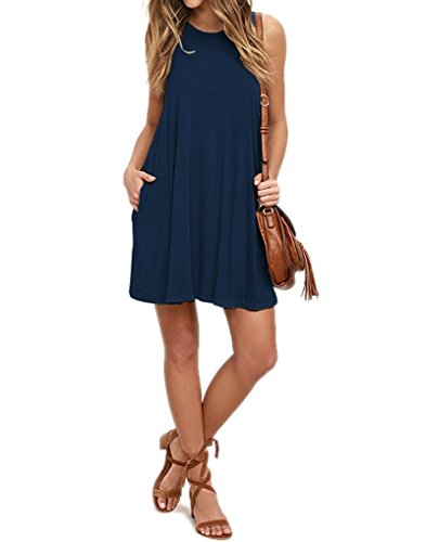 Mifidy T-Shirt Dress for Ladies, Women's Casual Sleeveless Pleated Loose Swing Casual Dress with Pockets Knee Length for Autumn(Medium,Navy)