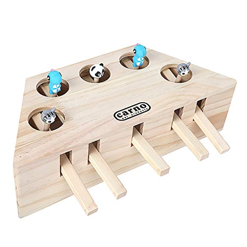 - ❤️Jonerytime❤️Pet Indoor Solid Wooden Cat Hunt Toy Interactive 3/5-holed Mouse Seat Scratch (C)