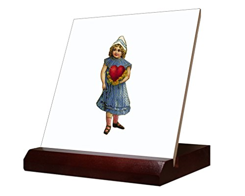 Ceramic Tile Hearth (Girl Holding Hearth Valentees Day Ceramic Tile with Wood Stand 4 inch tile)