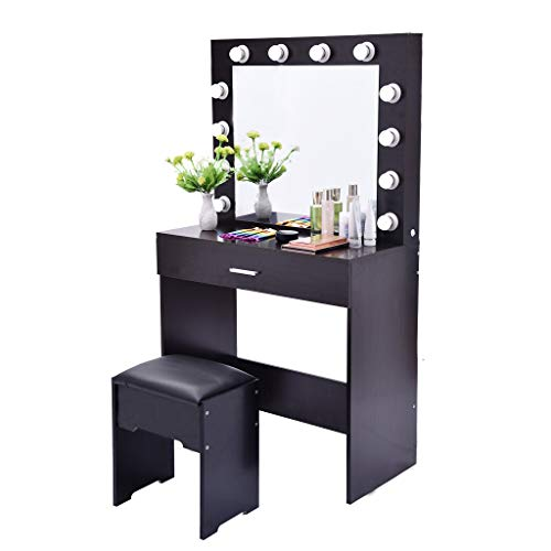 Dressing Table Makeup Table Vanity Set with Lighted Mirror Cushioned Stool (Makeup Mirror Desk)