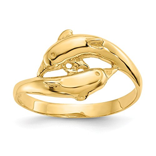 Designer White Gold Toe Ring - 14k Yellow Gold Double Dolphins Band Ring Size 6.50 Animal Fine Jewelry For Women Gift Set