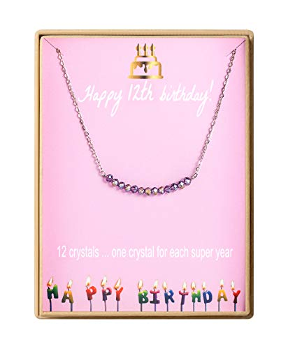 Birthday Gifts for Girls Sterling Silver Gem Stone Bar Necklace Birthday Gifts for Daughter 12 Year Old Girl (Best Gift For 12 Year Old Daughter)