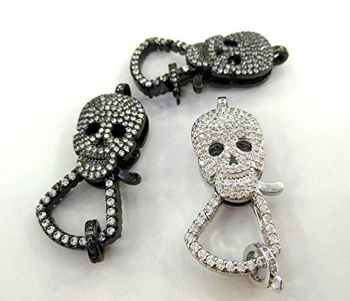 - Lot of 4pcs -Both face Crystal - CZ Micro Pave 3D Skull Lobster Claw Clasp,Skeleton Pave Clasp/Pendant Connector, Link Jewelry 20-40mm