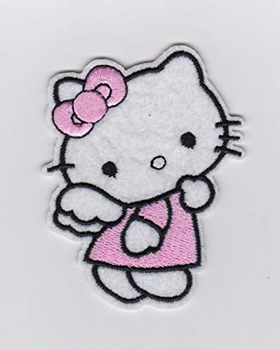 SANRIO PINK HELLO KITTY ANGEL WINGS- Iron on Patches/Sew On/Applique/Embroidered