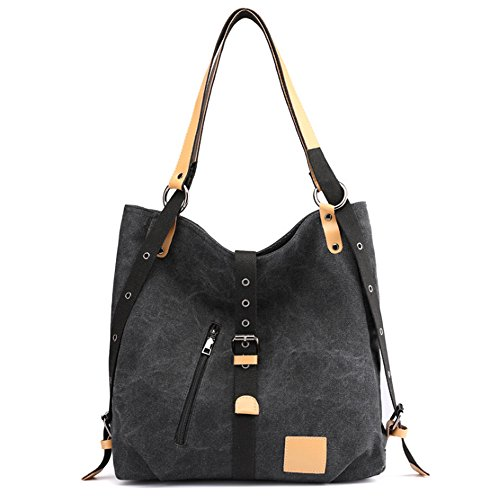Hobo Bag Bag Canvas Adjustable Tote with Shoulder Black Shopping Strap wXUxtqx
