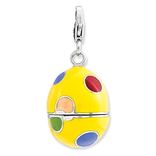 (925 Sterling Silver Rh 3 D Enameled Egg Lobster Clasp Pendant Charm Necklace Holiday Easter Fine Jewelry Gifts For Women For)