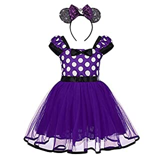 Baby Girls Polka Dots Tulle Spliced Tulle Dress Bowknot Headband Cake Smash Birthday Party Princess Pageant Tutu Skirt Fancy Cosplay Halloween Costume Purple-Ghost 2-3T