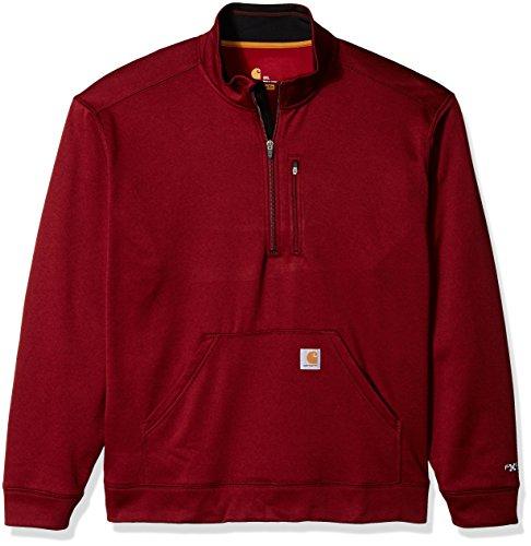 Carhartt Men's Force Extremes Mock-Neck Half-Zip Sweatshirt (Regular and Big & Tall Sizes), Dark Crimson Heather, - Crimson Heather