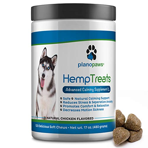 (Hemp Treats - Safe Calming Treats for Dogs - Hemp Oil for Pets - Dog Anxiety Relief - Natural Calming Aid - Helps with Separation Anxiety - Storms - Fireworks - Chewing - Stress - Barking - 120 Count)