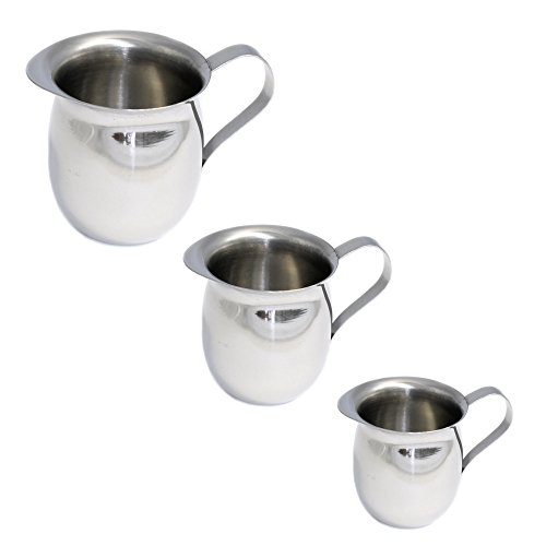 Set of 3 Mirror Finish Stainless Steel Bell Creamers in Assorted Sizes of Large, Medium and (5 Ounce Bell Creamer)