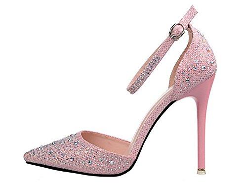 wealsex Aiguilles Pointu Rose Boucle Talons Escarpins Haute Strass Cheville Bout Sandales Chaussure Princesse Bride Mariage rWw6nwx