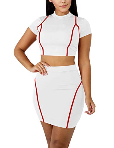 Mokoru Women's Sexy 2 Piece Crop Top Mini Skirt Set Short Sleeve Bodycon Club Dress, Small, White Red