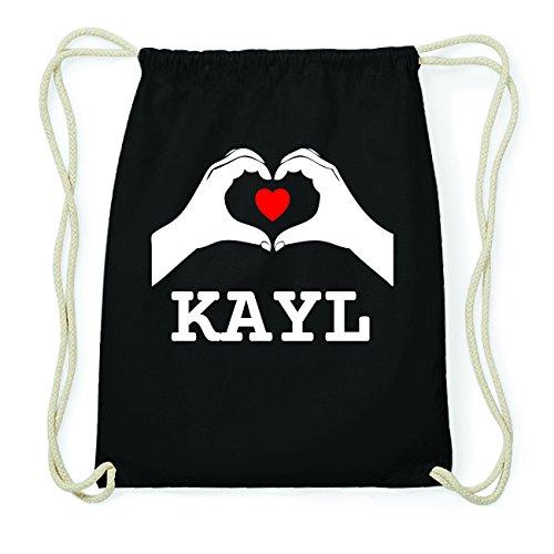 JOllify KAYL Hipster Turnbeutel Tasche Rucksack aus Baumwolle - Farbe: schwarz Design: Hände Herz