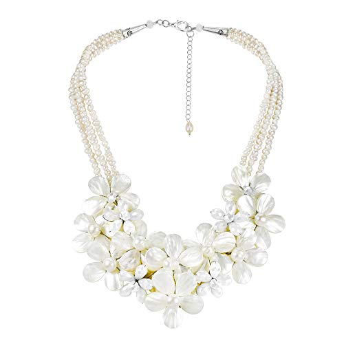 AeraVida Mix Floral Bouquet Cluster Mother of Pearl and Cultured Freshwater Pearl Necklace ()